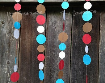 Sock Monkey Paper Circle Garland- Red, White, Turquoise Blue, Brown