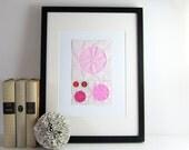 Origami Sketch No6 - Pink Ombre - Paper Collage - Original Art - Geometric Circles - Modern Home Decor - Minimalist Art - Paper Anniversary