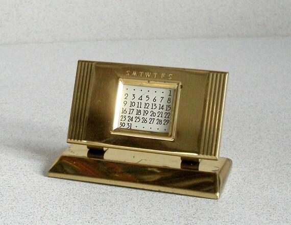 Perpetual Calendar Art Deco : Vintage brass perpetual desk calendar art deco by fultonlane