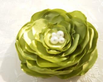 Flower Brooch-Wedding Hair Accessories in Subdued Lime Green  Satin Flower Bridal Flower Clip
