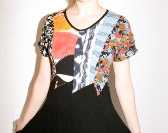 Black and Multi Colored 90s Baby Doll Mini Dress