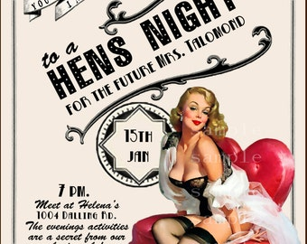 Vintage Pin Up Girl  Invitation- Bachelorette party, Hens night, Lingerie Shower burlesque invite diy print file PRINTED OPTIONAL
