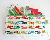 Hippo Pencil Case Kid's Long Zipper Pencil Pouch / Children Gift School Supplies Red Orange