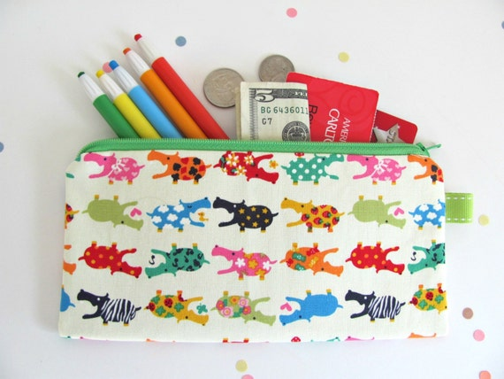 Hippo Pencil Case Kid's Long Zipper Pencil Pouch / Children Gift School Supplies Red Orange