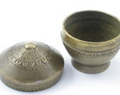 """Antique Round Heavy Brass Snuff Box Opium Container Box, 2"""" tall x 2"""" wide"""