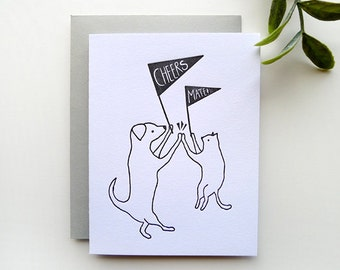 Letterpress Cheers Mate - Single Card