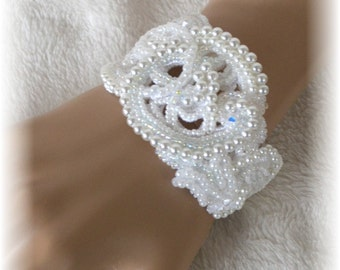 White Wedding Bracelet With Pearls and Rhinestones on Lace