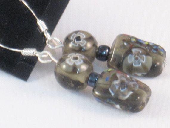 Dangling, Beaded Earrings in Gray with Flowers