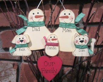 5 Family Members:  Personalized Snowman & Pet Ornament