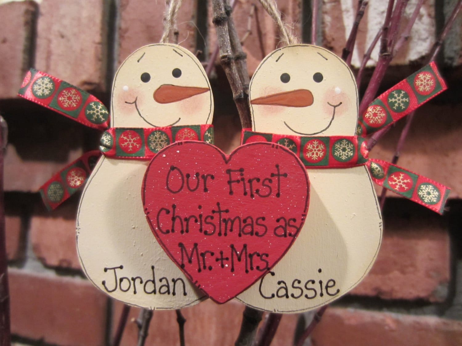 Personalized Snowmen Couple Ornament Our First Christmas as