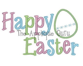 Happy Easter Applique Machine Embroidery Design