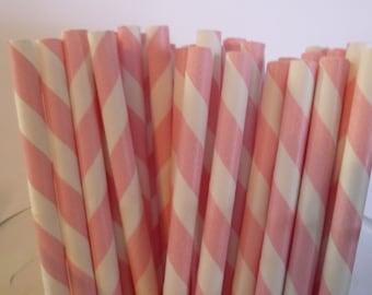 50 Light Pink Stripped Paper Straws-  Food Safe, Biodegradeable, Soy Based Ink- Baby Shower Decorations