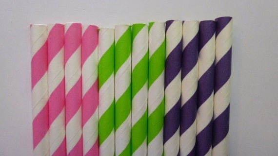 50 Dora the Explorer Mix- Purple Lime Green Bubble Gum Pink Stripped Paper Straws- Tinkerbell, Dora Birthday Party- Baby Shower Decorations