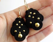 BLACK QUEEN soutache earrings embroidered in black with gold, ooak, hypoallergenic.