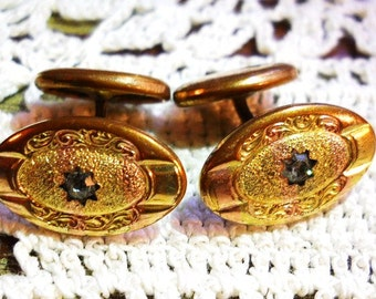 Antique Wedding Ornate Cuff Links 1850s to1890s Victorian Edwardian 10K to 12K Rose Gold and Yellow Gold Plated Diamond Cufflinks