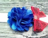 Saylor is an adorable blue puff with a red bow on a super soft Headband.....4th of July....Patriotic....USA.....Americana
