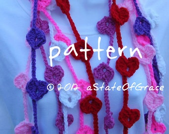 Heart Lariat Scarf PATTERN, Crochet, Valentine, Bunting, Garland, INSTANT DOWNLOAD