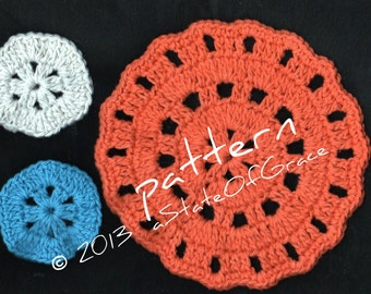 Facial Scrubbie and Washcloth Set # 2, Crochet PATTERN, Dishcloth, Doily, Coaster, INSTANT DOWNLOAD