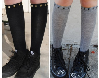 Studded Knee High Socks BLACK or GREY socks Black Silver OR Gold Studs
