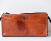 Cognac Cosmetic Case / Pencil Case - Handstitched leather case