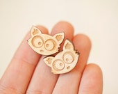 Raccoon Post Earrings Lasercut Birch Wood - Mika  - Woodland Creature Jewelry