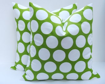 GREEN PILLOW 20x20 Polka Dots Green and White Lime Green Chartreuse Sofa Pillow cover Printed Fabric both Sides