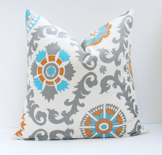 Decorative Pillow Covers 26x26 : Throw Pillow Covers 26x26 Suzani Pillow Orange Blue by EastAndNest