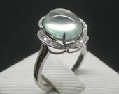 Engagement Ring -  4 Carat Prehnite Ring With Diamonds In 14K White Gold