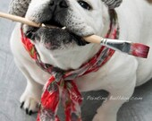 ARTISTE PIPER STONE The Painting Bulldog with a paintbrush, beret and scarf, Dog Photograph, Bulldog Photo, Special Needs Dog, Talented Dog