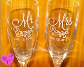On Sale - Personalized champagne flutes - Wedding Flutes - Toasting Glasses - CUSTOM ENGRAVED - Custom Wedding Flutes - wedding glasses