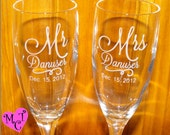 On Sale - Personalized champagne flutes - Wedding Flutes - Toasting Glasses - CUSTOM ENGRAVED - Custom Wedding Flutes - wedding glasses