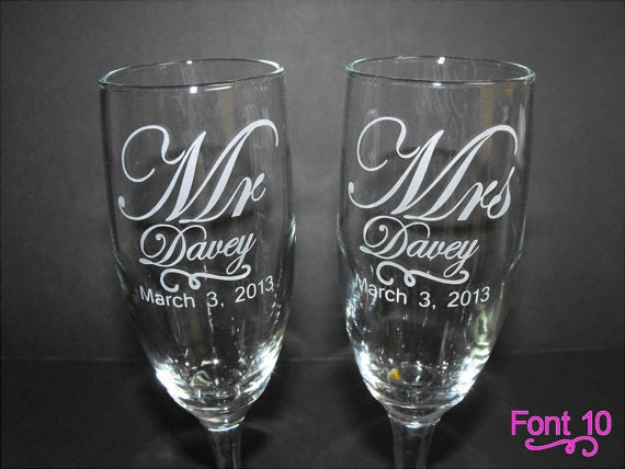 personalized wedding champagne flutes wedding toasting