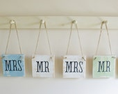 Set of 2 Shabby chic MR & MRS chair signs. Various colours available.