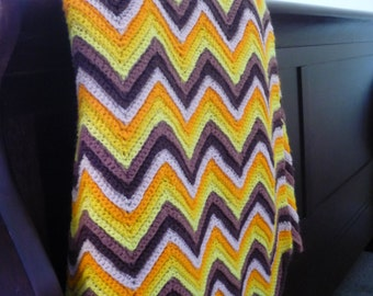 Vintage Handmade Chevron Pattern Afghan, Retro Brown, Orange, Yellow Throw