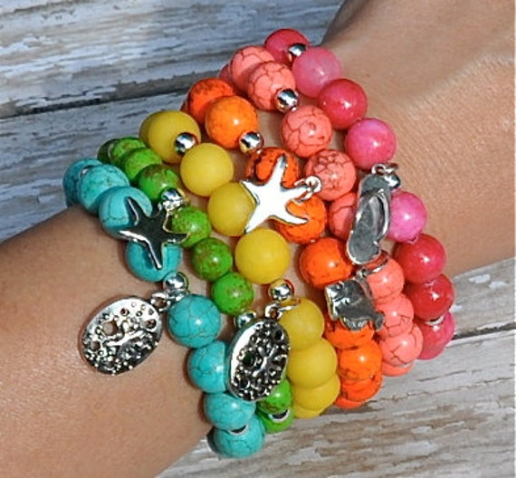 Summer Bracelets: Items Similar To Summer Beach Charm Bracelets / Beaded