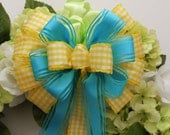 Turquoise Yellow Wedding Pew Bow Spring Wreath Bows Shabby Chic Wedding Bows Blue Yellow Shower Party decoration Bows