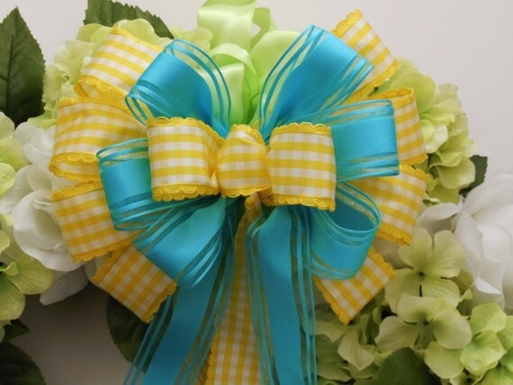 Turquoise And Yellow Wedding Ideas: Items Similar To Turquoise Yellow Wedding Pew Bow Spring