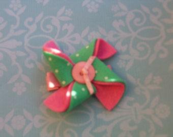 Girls Hair Clip, Pink Felt Hair Clip, Green Hair Clip, Pinwheel Hair Clip
