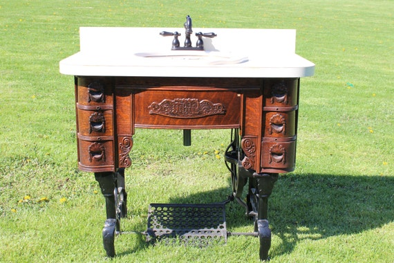 Items similar to vintage white sewing machine sink - Antique bathroom vanities for sale ...