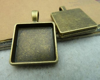 20 square bezel setting cabochon mounting, antique bronze , 20x20mm-  WC2810