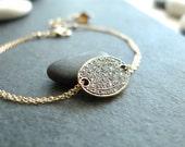 RESERVED for A. - Genuine Pave Diamond Oxidized Silver Charm and Solid Gold Bracelet - Modern Genuine Diamond Bracelet
