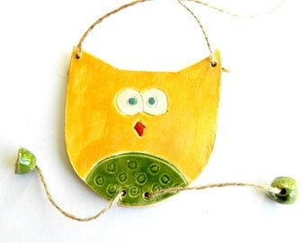 Harvest Yellow and Forest Green Tante Owl Ceraic Ornament Woodland Pottery