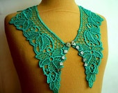 Cotton Lace Collar, Turquoise Green  color, Detachable Collar Necklace,Turquoise Green Lace Collar,  Mothers day gift,