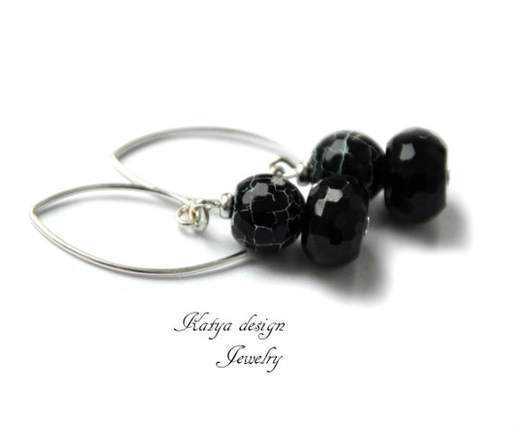 reserved  earrings stones black onyx