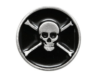 2 Pirate Skull and Bones 15/16 inch ( 24 mm ) Pewter / Black Metal Buttons