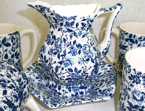 Vintage Blue Chintz Enesco Imports Japan set pitcher or creamer with saucer and 4 cups Shabby Chic Cottage Chic