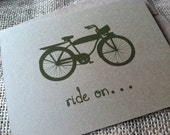 Ride On - Vintage Bike Series -  Note Card - Greeting Card - Graduation - Farewell - Recycled - Eco Friendly