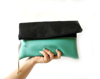 Foldover Clutch, Black and Mint, Vegan Leather, Clutch purse, Clutch bag, Colorblock