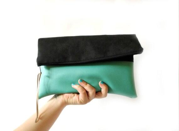 Foldover Clutch, Black and Mint, Vegan Leather, Clutch purse, Clutch bag, Colorblock