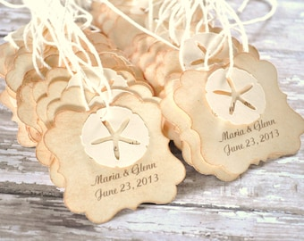 Beach Wedding Favor Tags for Bags Starfish Sand Dollar 48 tags